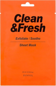 EUNYUL~Тканевая маска для регенерации кожи лица~Clean & Fresh Exfoliate - Soothe Sheet Mask